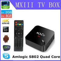 android g box - Android tv box MXIII G Amlogic S802 Cortex A9 Andorid TV BOX Quad core M LAN GB GB GHz WiFi BT4 H MXIII G MX3
