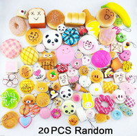 Wholesale 20Pcs pack Jumbo Medium Mini Soft Panda Bread Cake Buns Phone Straps Authentic Fine