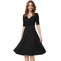 Wholesale Cocktail Dresses Ever Pretty Short Dresses Women Sleeves Hot Sall V Neck High Stretch Plus Size Cocktail Dresses Z61