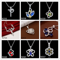 animal shapes butterflies - Butterfly cross shape silver Necklace with chain pieces a mixed style women s gemstone sterling silver Pendant Necklace EMP42