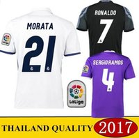 Wholesale 2016 Top Quality Real madrid soccer Jerseys Uniforms RONALDO Home White Away Puple JAMES BALE RAMOS ISCO MODRIC Football Shirts