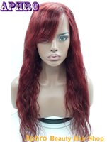 Wholesale Premium Virgin Human Hair J Red Glueless Full Lace Silk Top Wigs Density Brazilian Hair Lace Front Wigs With Side Bangs