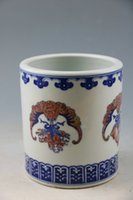 ancient chinese pots - Qing emperor qianlong blue and white youligong bats satisfied grain brush pot The ancient porcelain and old goods Chinese art collection