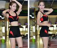 Wholesale 2016 women yoga clothes short set nylon fitness exercise sports vest bra and shorts M L XL