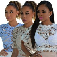 Wholesale In Summer White Blue Lace Perspective Knits Clothing Sexy Hollow Water Soluble Lace Short Sleeved Shirt B