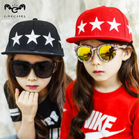 Wholesale Red Black Baseball Hats Childrens Summer UV Protect Caps Stars Pattern Hip hop Hats Outdoor Sport Hats Visors