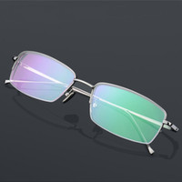 Wholesale Pure titanium frames male half box type business with reading glasses myopia glasses flat radiation protection gradually focus more