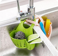 Wholesale Adjustable Sink Creative Kitchen Sink Bathroom Hanging Strainer Organizer Storage Sponge Holder Bag