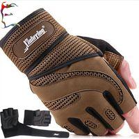 Wholesale Black brown cm wirstband cuff glove Professional fitness breathable gloves mitten bodybuilding skidproof glove