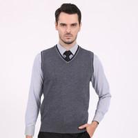 basic double - New Mens Brand Knit Vest Sleeveless Sweater Pullover V Neck Basic Pullover Tops for Autumn Winter