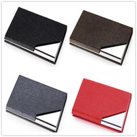 Wholesale 2016 Business Card Files Stainless steel grade PU card case aluminum creative personality new business card holder Desk Accessories A0252