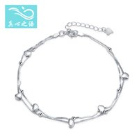 Wholesale 2016 Japan and South Korea new summer S925 Sterling silver Anklet Sliding Heart shaped Accessories Anklet high quality jewelry