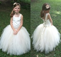 Wholesale Cheap In Stock Ivory Flower Girl Dresses Tulle Floor Length Girls Pageant Dresses Lace Up Birthday Ball Gowns with Straps MC0207MC0207