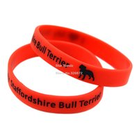 Wholesale New Arrived I Love My Staffordshire Bull Terrier Ink Filled Colour Logo Silicon Bracelet Colours