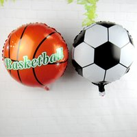 basketball birthday decorations - 50pcs Football Basketball Foil Balloons inflatable helium balloon Children Classic Toys happy birthday Party Decoration air balloons