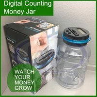 Wholesale Digital counting money jar Box with LCD display US EU coins tracks your savings with every deposit home DHL