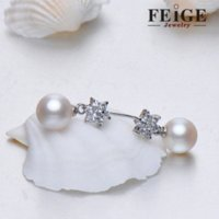 Wholesale Feige Pearl Drop Earrings For Women s mm Round White Natural FreshWater Pearls Sterling Silver Rhinestone Studded