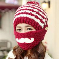 add yarn - Handmade knitting hat add wool in winter to keep warm earmuffs mustache masks ms cap hat BA489