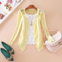 Wholesale New Summer Brand women cardigan Lace Flower Sweet Candy Color Sun Protection Clothing Crochet Knit Cardigan Tops
