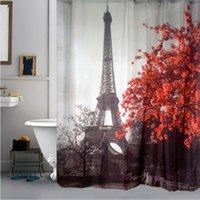 Wholesale 70 quot x quot quot x quot Waterproof Bath Curtains Washable Eiffel Tower Shower Curtains with C Shape Hooks
