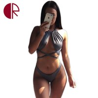 bathing suit romper - HOT Sexy Hollow Out Wrap Around High Waist Two Piece Swimsuit Women Swimwear Bathing Suit Bandage Bodysuit Romper Bather