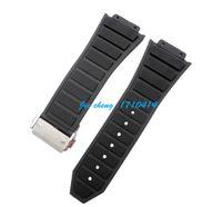 achat en gros de x bracelet noir-30 mm x 20mm nouvelle haute qualité en acier inoxydable boucle d'argent noir de plongée caoutchouc silicone sangle bande de montre Pour HUBWATCH
