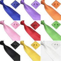 Wholesale neck tie set cufflinks ties for men Handkerchief Pocket square neckwear