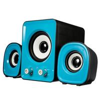 Wholesale 1 Set Main Speaker Small Speaker Mini Computer PC Speaker Blue White USB2 Multimedia Stereo Desktop Portable USB Subwoofer