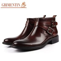 animal bonding - 2016 new mens boot fashion autumn luxury short ankle boots genuine leather with buckle black brown mens shoes office large size B2