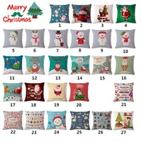 Wholesale Santa Clause Snowman Reedear Christmas Angel Printed Cushion Cover Sofa Home Decor Pillow Case Cotton Polyester Sofa Chair Square