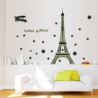 plastic plane - vinilos paredes Eiffel Tower View of Paris Noctilucent DIY Wall Wallpaper Stickers Art Decor Mural Room Decals Poster H11583