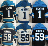Wholesale Panthers hoodies cheap football jerseys hoody sweatshirts Carolina NEWTON KUECHLY black th white drop freeshipping