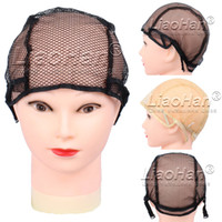 Wholesale Wig Caps for Making Wigs with Adjustable Straps on the Black Hair Net Wig Cap WF02 Colors Optional