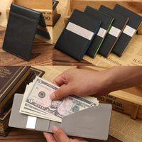 Wholesale Splendid Hot Designer Famous Brand Mens Black Leather Magic Credit Card ID Holder Money Clip Wallet Business Man Wallets