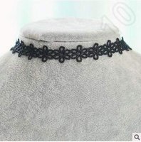 Wholesale Handmade Hot Selling Vintage Outus Flower Choker Necklace Set Stretch Velvet Classic Gothic Tattoo Lace Choker Necklaces CCA4973
