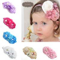 baby playhouses - 12 colors Children s Hair Accessories Baby Flower Hair headdress pearl chiffon and cloth combined rose Playhouse Hair Sticks Headbands