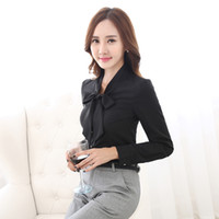 Cheap Black OL Business Shirt Suits Women 2 piece set New Formal Office Lady Work Suits Bow-Neck Shirt with Trousers
