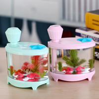 air soft tank - USB Mini Fish Tank humidifier With Aesthetic simulation water plants soft luminous colorful light effect new humidifier air cleaner on sale
