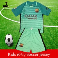 Wholesale Second away messi Kids Soccer Jerseys Sets youth boys child kits Top Quality messi home messi away Short sleeve football best bargains