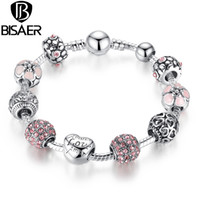 Wholesale 925 Silver Charm Bead fit European Pandora Bracelets Bangle for Women Love Flower Crystal Ball Chain Link Pulseras Fashion Jewelry