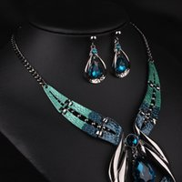 accessories dinner sets - Europe And United States Exaggerated Jewelry Set Fashion Blue Gem Necklace Sapphire Earrings Jewelry Sets Dinner Accessories Female
