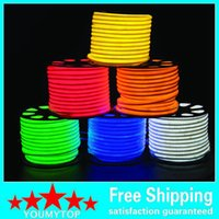 Wholesale 50m led M LED Neon Flex Red color m LED soft neon light V waterproof flexible led strip rope light