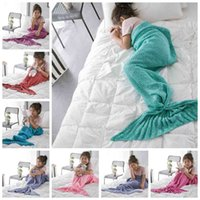 air spring bags - Kids Mermaid Blankets Crochet Mermaid Blankets Mermaid Tail Sleeping Bags Mermaid Knitted Cocoon Mattress Sofa Air condition Blankets E12