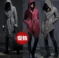 asymmetrical wool jacket - Black grey red vintage winter jacket men asymmetrical wool coat men slim punk design hood peacoat outerwear overcoat S XL