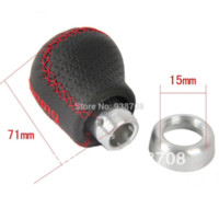 Wholesale Momo Black Leather Red Stitched Car Gear Shift Knob Shifter Lever Universal Fit for Manual Transmission Drive