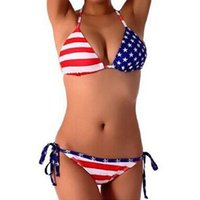 american flag bikini - 2016 Hot new Summer Lady Push up Padded USA Bikinis BOHO American Flag Fringe Tassel Bandage Bathing Suits Swimwear