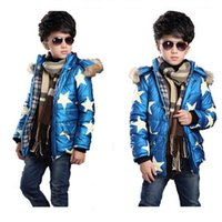 Wholesale Kids Down Jacket For Boys Baby Clothes Star Print Winter Down Coat Warm Baby Snowsuit Children Girls Hooded Coat