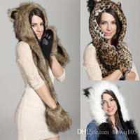 Wholesale 2016 Winter Fur Scarf Hat Glove Set Animal in1 Hats Fashion Leopard Hood Gloves Scarves Unisex Christmas Gift Many Styles CJD0809