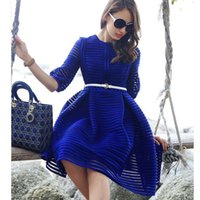 Wholesale Hot Sale Women Autumn Dress Fashion Sexy Slim Stripes Hollow Out Work Wear Vestidos Plus Size Casual Dresses New Designer