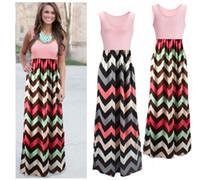 Wholesale Long Dress Women Sleeveless Halter Waves Striped Dresses Beach Party Maxi Dress Patchwork High Waist Dress